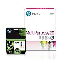 HP 952 | インクカートリッジ 8.5×11用紙150枚 | ブラック 3色 | F6U15AN L0S49AN L0S52AN L0S55AN