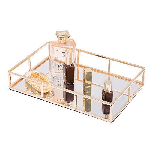 Sasha Morel Mirrored Tray Perfume Tray Candle Tray Mirror Tray Table Gold Ornate Tray Gold Vanity Tray Gold Drinks Tray Metal Mirror Tray Gold Finish Gold Tray for Vanity Dresser Bathroom Bedroom