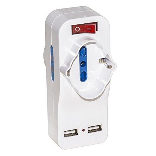 LINK Adattatore 1 Spina Italiana Tripolare 16A Ruotabile con 2 Prese ITA 10/16A e 2 Porte USB con Interruttore