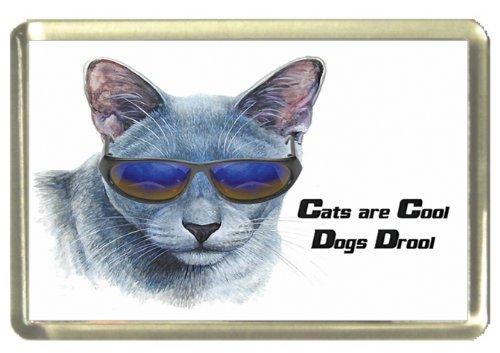 Russische Blue Cat Koelkast Magneet, Katten zijn Cool, Honden Drool.