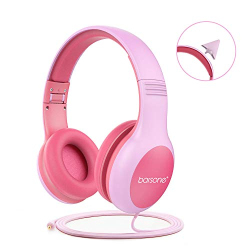 Volume Limiting Kids Headphones Girls,85dB barsone Over Ear Wired Headset with Music SharePort,Food Grade Silicone,Cute Detachable Bunny Ears Headphones for School Children Toddlers Pink