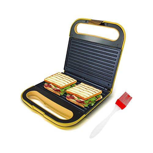 Health and Home Electric Indoor Grill, Panini Press, Gourmet Sandwich Maker, 303G-Yellow