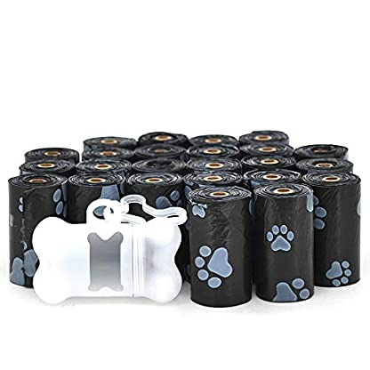 Best Pet Supplies Dog Poop Bags for Waste Refuse Cleanup, Doggy Roll Replacements for Outdoor Puppy Walking and Travel, Leak Proof and Tear Resistant, Thick Plastic - Black, 360 Bags (BK-360C) 1