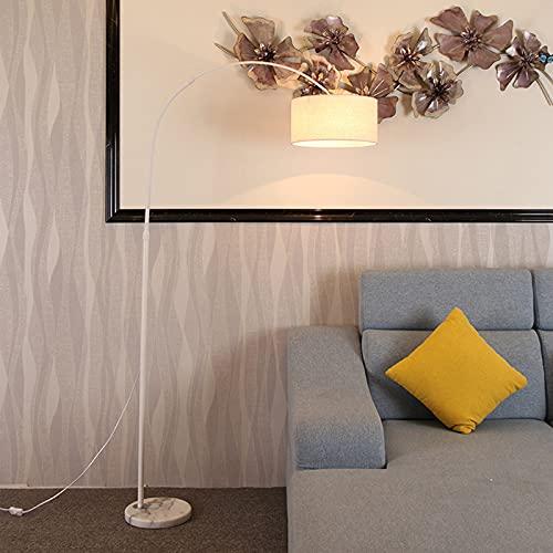LED Diseño Simple Modernas Lámpara De Pie con Pantalla Lámparas Altas para Sala De Estar Dormitorio Oficina Lámpara De Poste Negro con Interruptor De Pie con Bombilla LED De 9W,Blanco