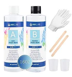 Resina Epoxi de 16oz Kit de Resina Epoxi Transparente para Fabricación de Joyas Manualidades Moldes Tableros de Mesa con Palos Guantes