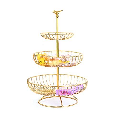 Apark Obst Etagere - 3 Stöckig Obstkorb für Mehr Platz auf der Arbeitsplatte - Metall Obstschale als Dekorativer Hingucker in Ihrer Landhaus-Küche,3 Ablagekörbe:30cm,24.5cm,16.5cm, Höhe:47cm (Gold)