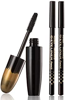 FIRSTZON Volume effect 3D mascara with black and brown eyebrow pencil| brown eyebrow pencil| curly and thick eyelash masca...
