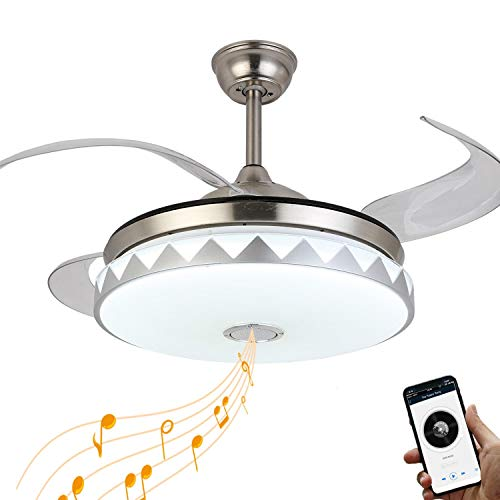 Retractable Ceiling Fan Lights with Bluetooth Speaker, 7...