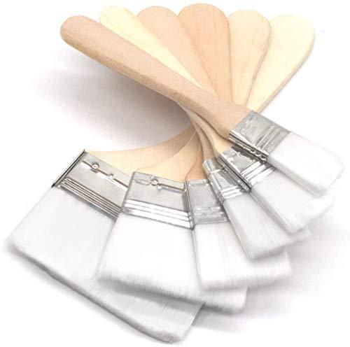 多用途刷毛 ペイントブラシナイロンブラシ 絵画、 木製 ドア、窓、壁、木製家具の塗装、バーベキュー塗料用 6サイズセット (ホワイト)