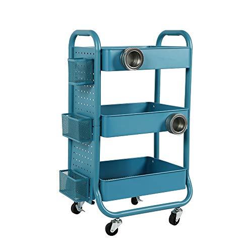 XiuHUa Rekwagentje, smeedijzer moderne minimalistische huishoudelijke kinderwagen met vergrendeling caster, opbergwagen