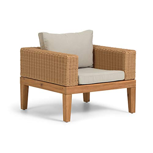 Kave Home - Giana Sessel aus massivem Akazienholz und Rattan FSC 100%