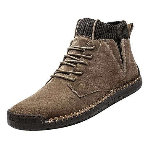 Herren Herbst Winter Plüsch Plus Warm Indoor Outdoor Casual High Top Socken Retro Combat Boots Comfy Boots Comfy Lightweight Round Toe Shoes 42,5 khaki