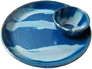 PRADO STONEWARE COLLECTION - Nacho/Salsa Tray One Piece Chip & Dip Plate With Attached Bowl - Royal Blue