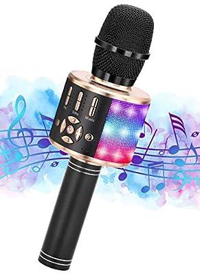 Ankuka Microphone Girls Toys Age 3-12 Kids, Wireless Karaoke Microphone Gift for 6-11 Year Old Girl Children Singing Microphone Machine Best Birthday Gifts Toys for Girls Black Gold Karaoke Microphone