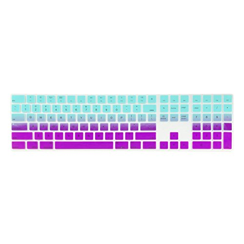 TOP CASE - Faded Ombre Ultra Thin Silicone Soft Keyboard Cover Skin Compatible with Apple Magic Keyboard with Numeric Keypad Model: MQ052LL/A A1843 (US Layout, 2017 Released) - Hot Blue & Deep Purple