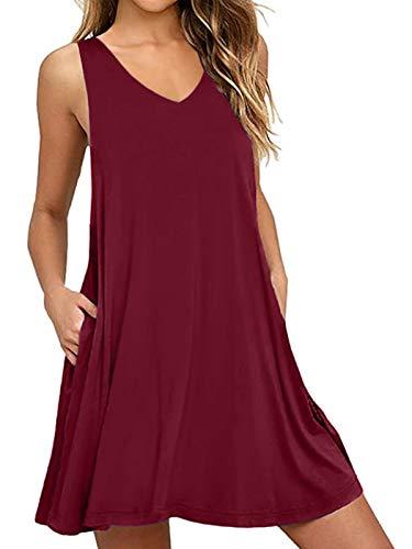 CNFIO Elegante camiseta para mujer, sin mangas, minivestido sin mangas, con bolsillos, línea A, largo hasta la rodilla, con cinturón De vino rojo 46
