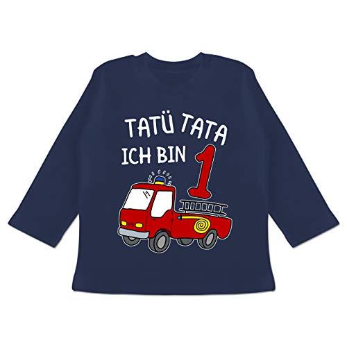 Geburtstag Baby - Tatü Tata ich Bin 1 Feuerwehrauto - 12/18 Monate - Navy Blau - Junge 1 Jahr Feuerwehr Tshirt - BZ11 - Baby T-Shirt Langarm