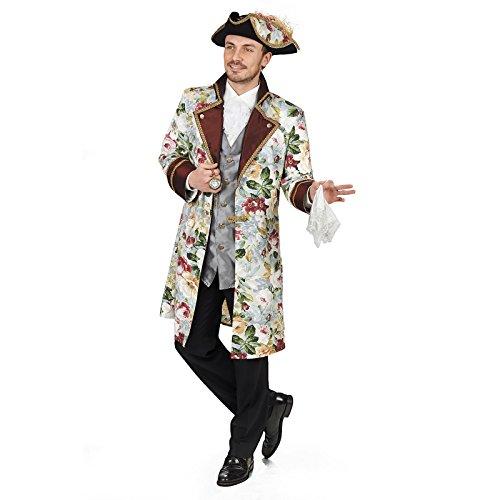 Elbenwald Ludwig Barock Gehrock mit Weste Kostüm Herren mit Blumenprint zum Karneval - 54/56