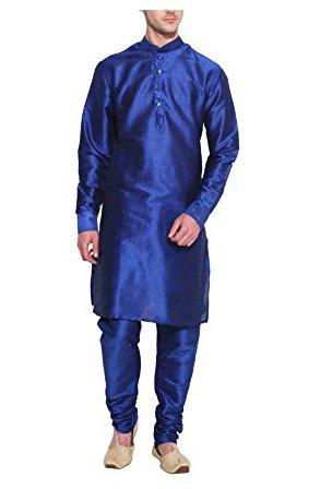 Royal Kurta Royal Kurta Men's Designer's Silk Blend Kurta Churidar Collections 38 Blue