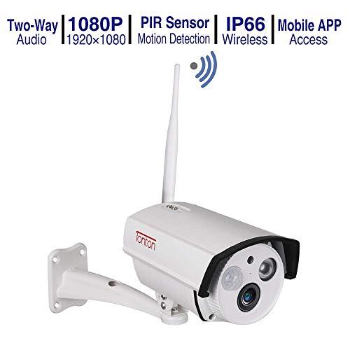 Tonton WLAN IP Kamera, 1080P Überwachungskamera für Außen mit LAN & WLAN Verbindung, WiFi IP66 wasserdichte Sicherheitskamera, Infrarot Nachtsicht, Zwei-Wege-Audio (Kompatibel mit Tonton NVR System)