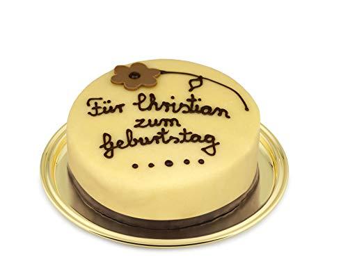 Marzipantorte Lübecker Art mit individueller Beschriftung, 600g, Manufakturqualität!, handgefertigt von den Konditoren der Confiserie Rabbel...für ein Lächeln mehr am Tag