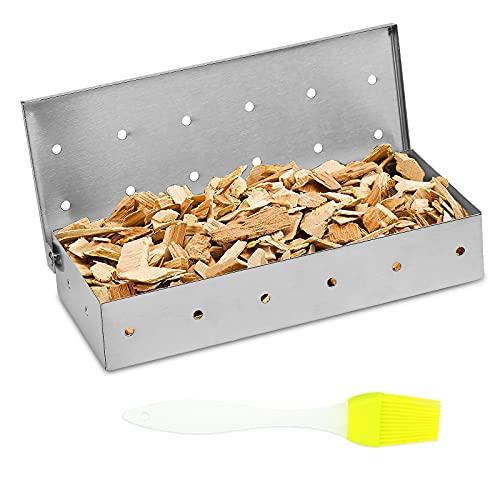 LOPOTIN Räucherbox Gasgrill Smoker Box Rawford Grillzubehör Grill Räucherschale Edelstahl Smokerbox Grillbox Räucherkasten für Gas-, Holzkohle- und Elektrogrill BBQ Fleisch Rauchgeschmack
