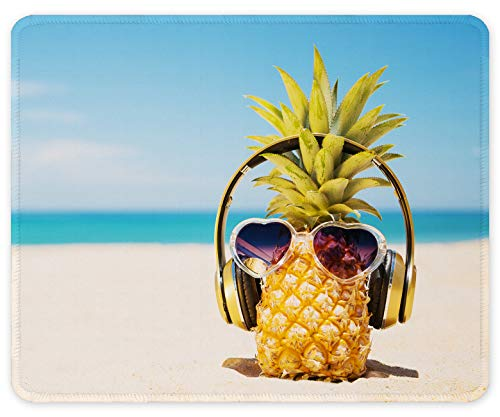 Auhoahsil Mouse Pad, Square Beach Style Anti-Slip Rubber Mousepad with Durable Stitched Edges for Gaming Office Laptop Computer PC Men Women Kids, Cute Custom Pattern, Beach and Pineapple Design