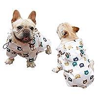 SHUUMEEKAペット レインコート 小中型犬 犬 レインコート ポンチョ 軽量 防水 帽子付き ペット用品 雨具 着脱簡単 梅雨対策 (LL, ホワイト)