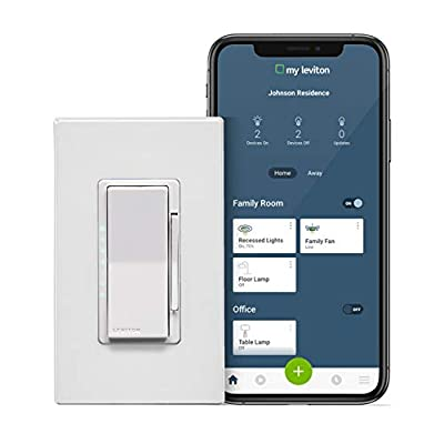 Leviton DW6HD-1BZ Decora Smart Wi-Fi 600W Universal LED/Incandescent Dimmer, Works with Amazon Alexa, No Hub Required, 1-Pack, White