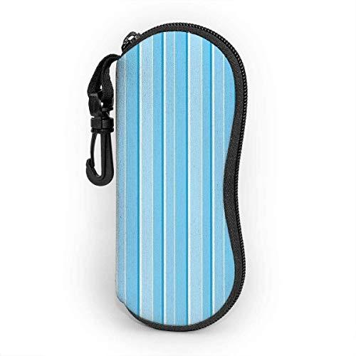 MODORSAN Estuche blando para gafas de sol con llavero con mosquetón, raya de color, ultraligero, portátil, con cremallera, de neopreno, bolsa para anteojos, línea azul