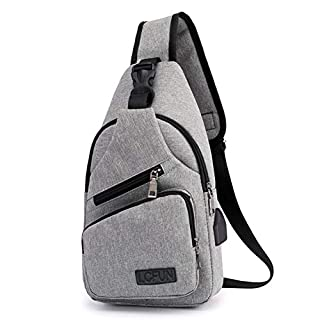 Canvas Sling Bag Shoulder chest cross body backpack, Men Women Crossbody backpack, usb charging port Backpack for Travel/Hiking/Outdoor Sport (Gray) (B077QG2K69) | Amazon price tracker / tracking, Amazon price history charts, Amazon price watches, Amazon price drop alerts