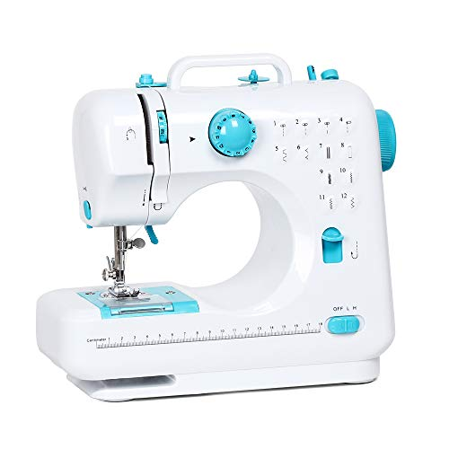 RZChome Sewing Machine Portable Crafting Mending Machine with 12 Built-in Stitches Double Thread and Speed for Beginner Blue