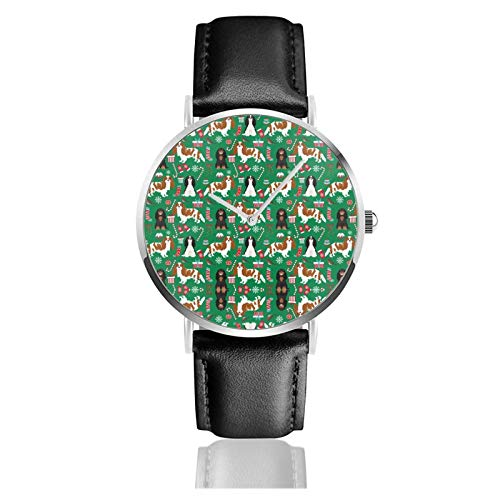 Reloj de cuero Cavalier King Charles Spaniel Navidad mixto Abrigos verde Unisex...