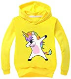 Silver Basic Sweat à Capuche Fille Ado Licorne Décoration Sweat-Shirt 12 Ans à la Mode pour Enfant Garçon 150cm,Jaune Licorne Couvrit-1