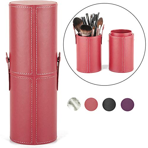 Makeup Brush Holder Travel Brushes Case Bag Cup Storage Dustproof for Women and Girls (Red)