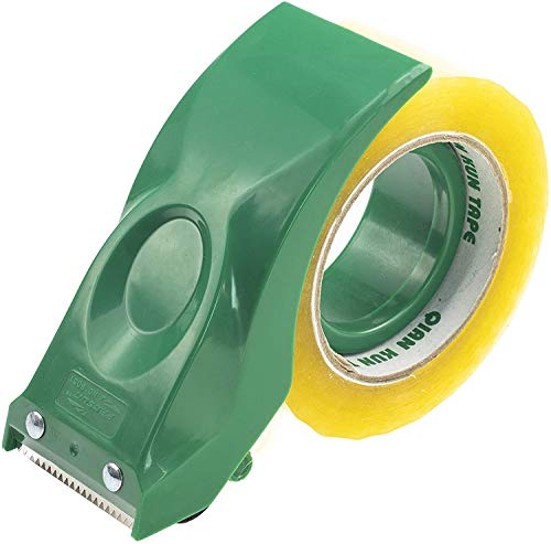Prosun - Pistola dispensadora de cinta de embalaje (50 mm, ligera, ergonómica, industrial, resistente, para cartón, embalaje y sellado de cajas, color verde