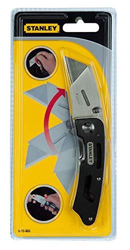 Stanley 0-10-855 klapmes met vast lemmet (160 mm lengte, ergonomisch design, robuuste behuizing van aluminium)