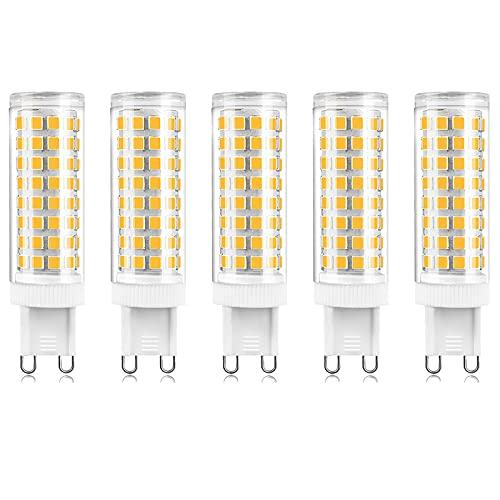 Bombilla LED G9 Regulable 10W, 100W Equivalente Halógeno G9, 2700K Blanco Cálido Suave, 220V Sin Parpadeo, Iluminación de Lámpara 1000lm (Paquete de 5)