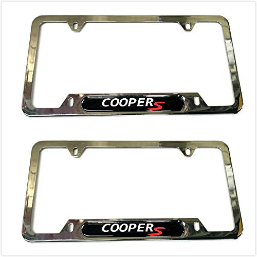 Auteal Car Stainless Steel Metal Coopers License Plate Tag Frame Cover Holders w/Caps Screws for Mini (2 Silver)