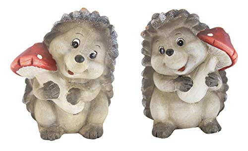 DARO DEKO Keramik Figur Igel mit Pilz A und B - 2 Stück