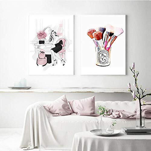 LLXHGRosa Süße Mädchen Wandkunst Auf Leinwand Malerei Mode Make-Up Pinsel Poster Und Drucke Klassische Wandbilder Für Wohnzimmer-50X70Cmx2Pcs Ungerahmt
