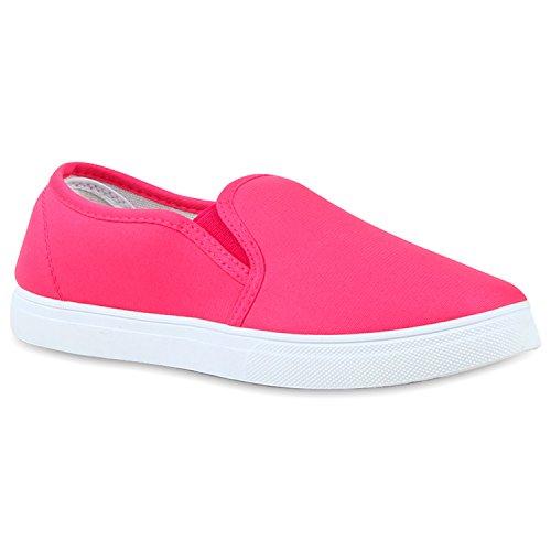 stiefelparadies Damen Slipper Bequeme Slip-Ons Schleifen Fransen Pailletten Sneakers Kroko Sneaker Low Skater Flats Schuhe 116688 Pink Pink 39 Flandell