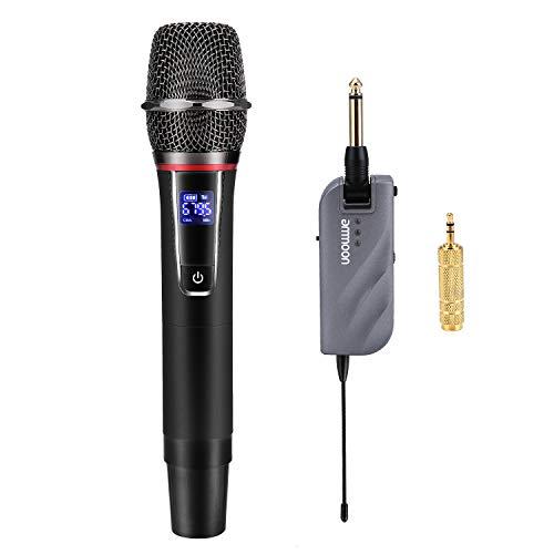 ammoon Microfono Wireless, Set di Micro Sistema Senza Fili Handheld a 10 Canali UHF con Mini Ricevitore Portatile Per Chiesa Casa Intrattenimento Karaoke Incontri d affari Discorso
