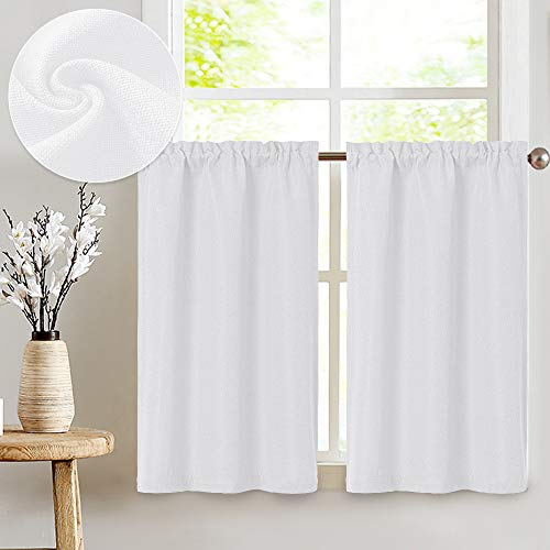 Linen Textured Tier Curtains Rod Pocket Flax Linen Look Tiers Kitchen Cafe Curtains Window Treatments for Living Room 2 Panels 45' L White