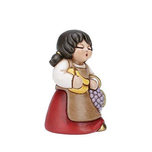 THUN - Statuina Presepe Donna con Frutta - Decorazioni Natale Casa - Linea Presepe Classico, Variante Rossa - Ceramica - 8 h cm