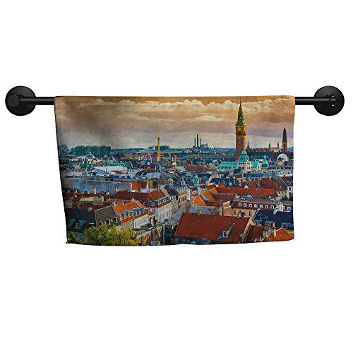 xixiBO Towel W 39 x L 16(inch) Anti-Fade Towel,City,Aerial View Copenhagen Historical Buildings Urban Lifestyle Medieval Architecture,Multicolor