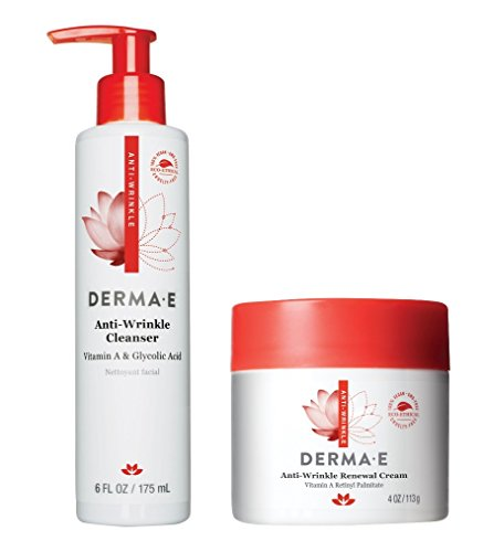 Derma E Anti-Wrinkle Vitamin A Glycolic Cleanser and Age-Defying Wrinkle Cream With Anti-Aging Serum, Vitamin E, Sea Kelp, Antioxidants & Horsetail, Natural Exfoliant and Fine Line Reducer, 6 & 4 oz.