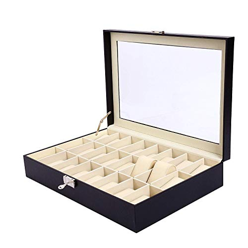 9milelake Watch Box 24 Slots Men Black PU Leather Display Clear Top Jewelry Case Organizer