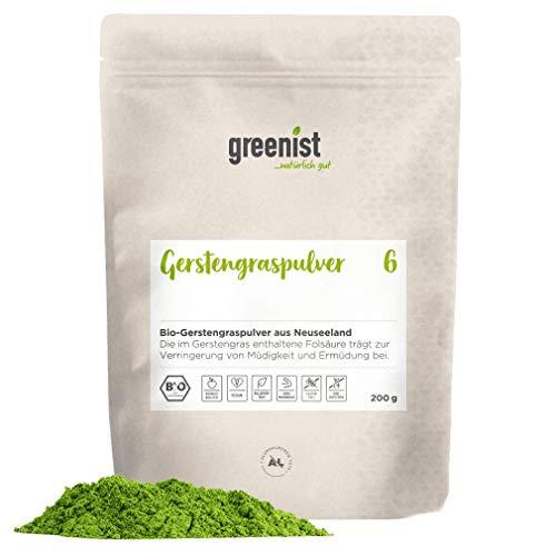 greenist Gerstengraspulver, 200g, BIO, Premiumqualität aus Neuseeland, Rohkost, vegan, 100% naturrein, ohne Zusatzstoffe, alufreie Verpackung