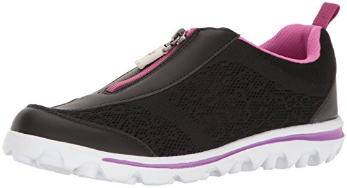 Propet Women's TravelActiv Zip Walking Shoe, Black/Berry, 8.5 2A US